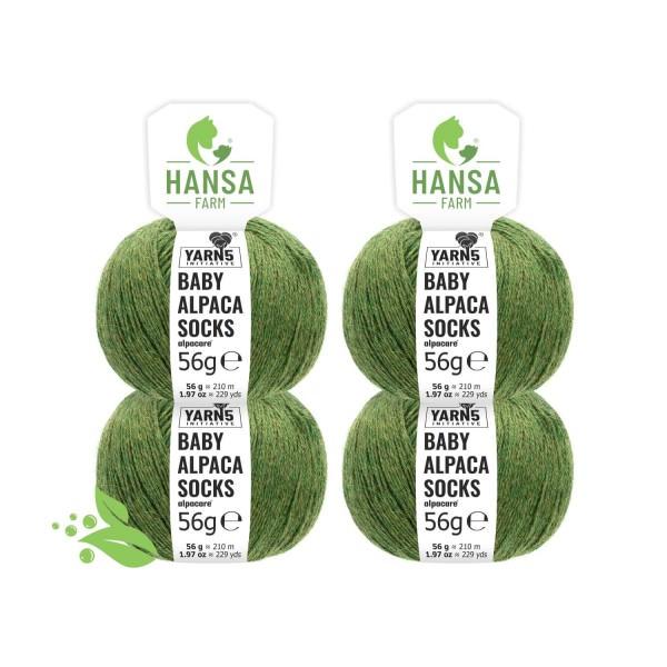 224g alpacare® SOCKS Baby Alpakawolle Mittelgrün meliert (HF285)