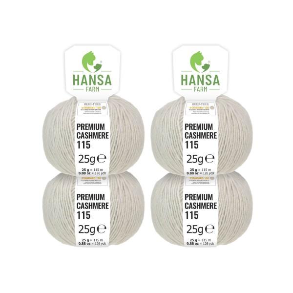 100g Premium Cashmere Wolle 6/28 aus Italien Silbergrau (CA324)