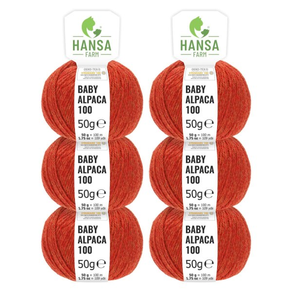 300g Baby Alpakawolle DK Orange heather (HF149)