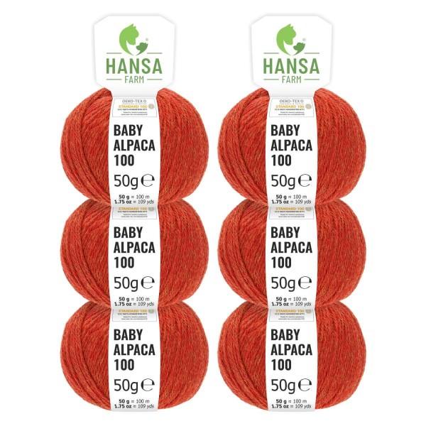 300g Baby Alpakawolle DK Orange heather (HF149)