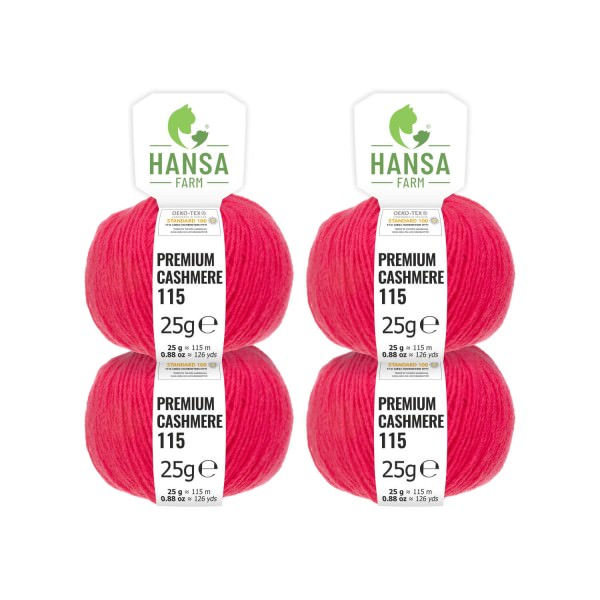 100g Premium Cashmere Wolle 6/28 aus Italien Himbeere (CA183)