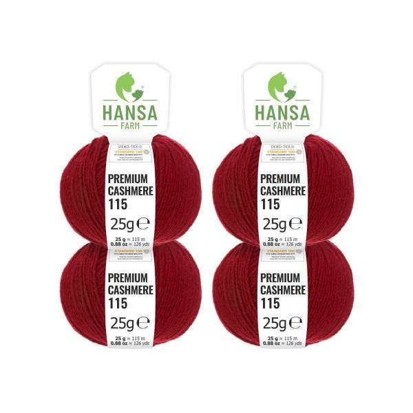 100g Premium Cashmere Wolle 6/28 aus Italien Weinrot (CA178)