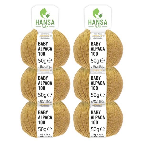 300g Baby Alpakawolle DK Zucker Gelb heather (HF134)