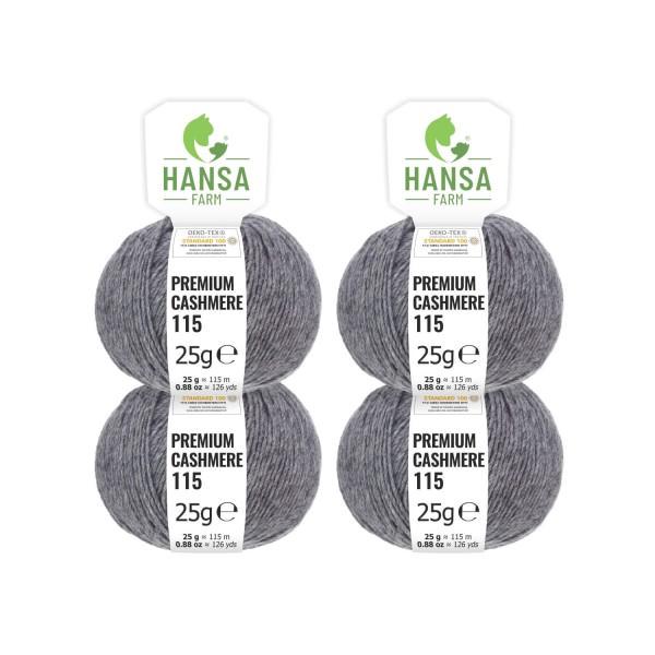 100g Premium Cashmere Wolle 6/28 aus Italien Dunkelgrau (CA12)