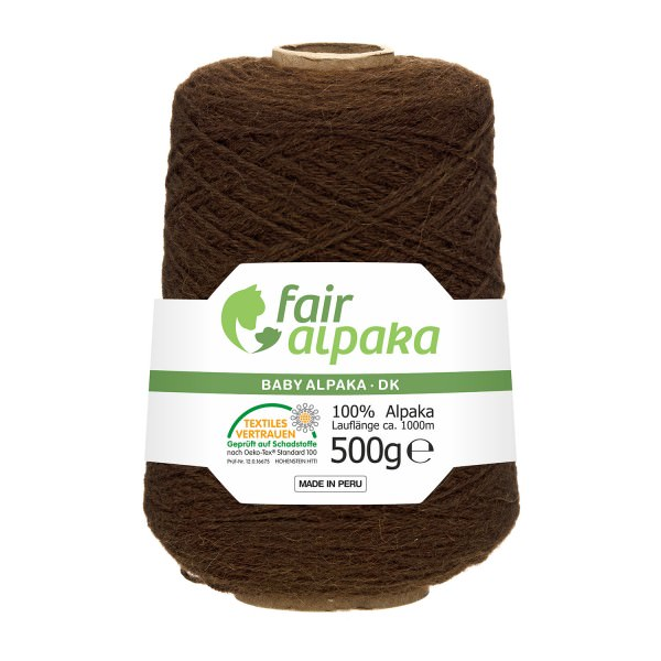 500g Baby Alpakawolle DK Kone Schoko (NFA08)