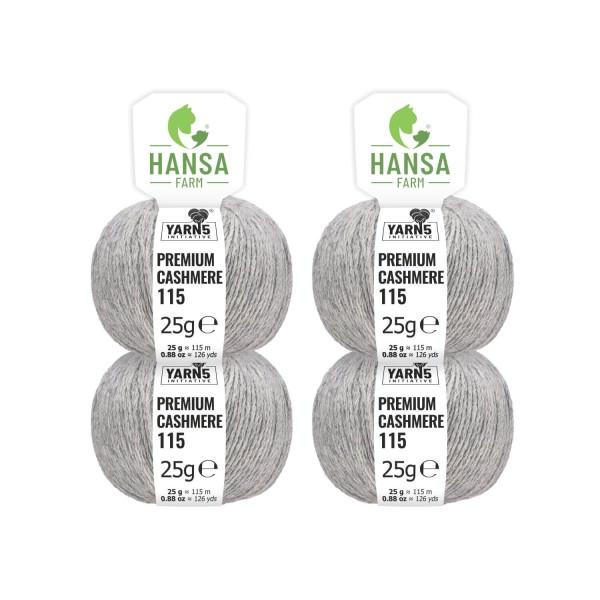 100g Premium Cashmere Wolle 6/28 aus Italien Hellgrau (CA10)