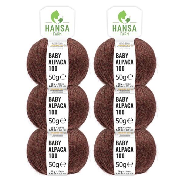 300g Baby Alpakawolle DK Rost Braun heather (HF189)