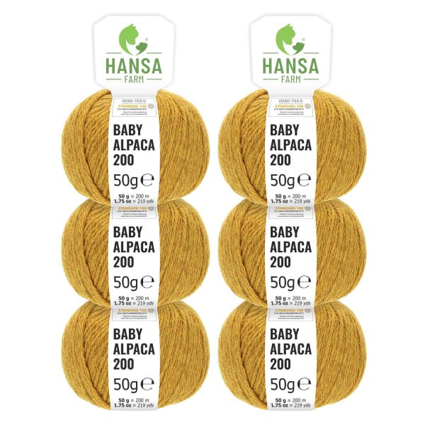 300g Baby Alpakawolle FINGERING Senfgelb heather (HF114)