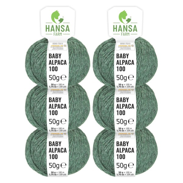 300g Baby Alpakawolle DK Smaragd heather (HF275)