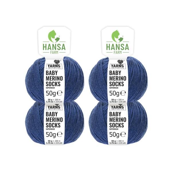 200g Baby Merinowolle Superwash SOCKS Jeansblau (CF245)