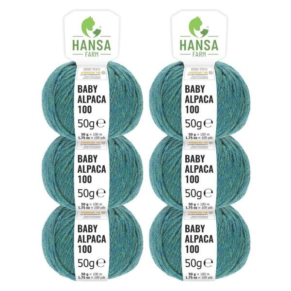 300g Baby Alpakawolle DK Blau-Gruen heather (HF266)