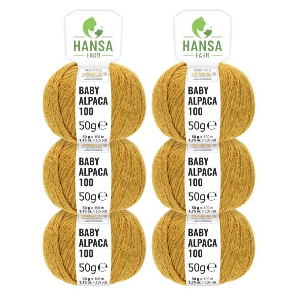 300g Baby Alpakawolle DK Senfgelb heather (HF114)