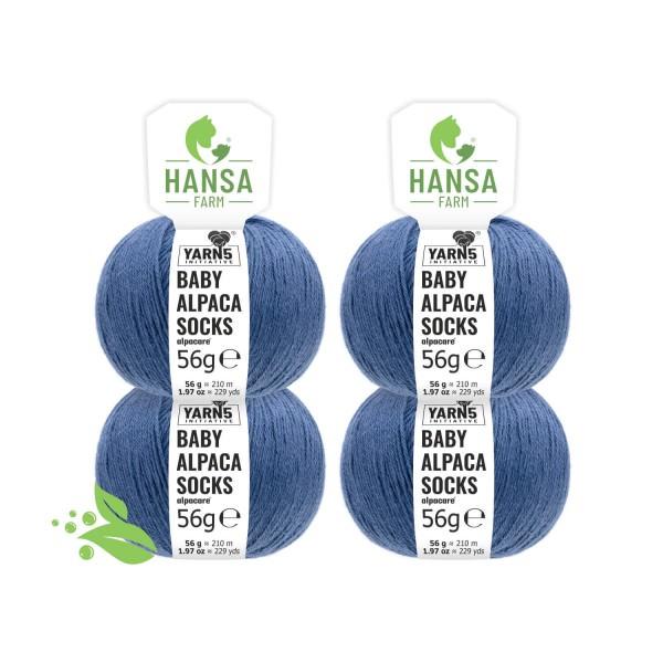 224g alpacare® SOCKS Baby Alpakawolle Jeansblau (CF245)