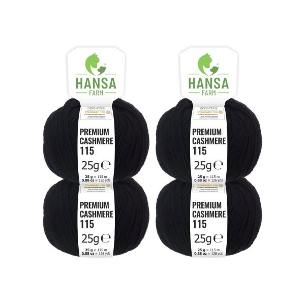 100g Premium Cashmere Wolle 6/28 aus Italien Schwarz (CA15)