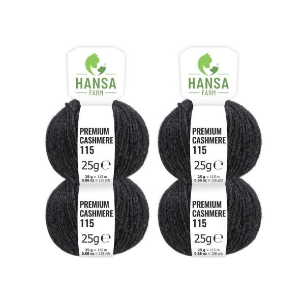 100g Premium Cashmere Wolle 6/28 aus Italien Anthrazit (CA14)