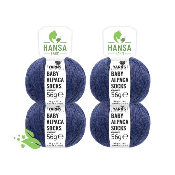 224g alpacare® SOCKS Baby Alpakawolle Dunkelblau meliert (HF236)