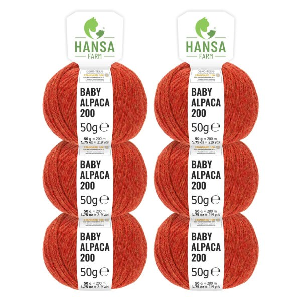300g Baby Alpakawolle FINGERING Orange heather (HF149)