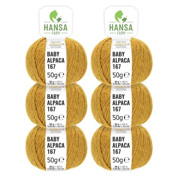 300g Baby Alpakawolle SPORT Senfgelb heather (HF114)