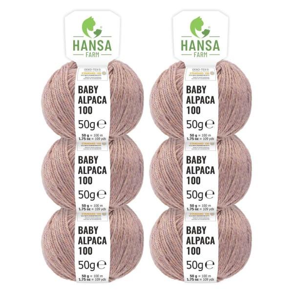 300g Baby Alpakawolle DK Creme-Beere heather (HF171)