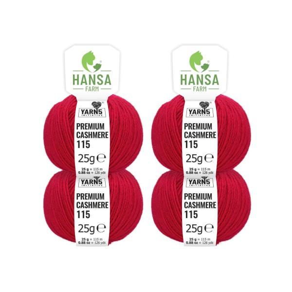 100g Premium Cashmere Wolle 6/28 aus Italien Kirschrot (CA175)