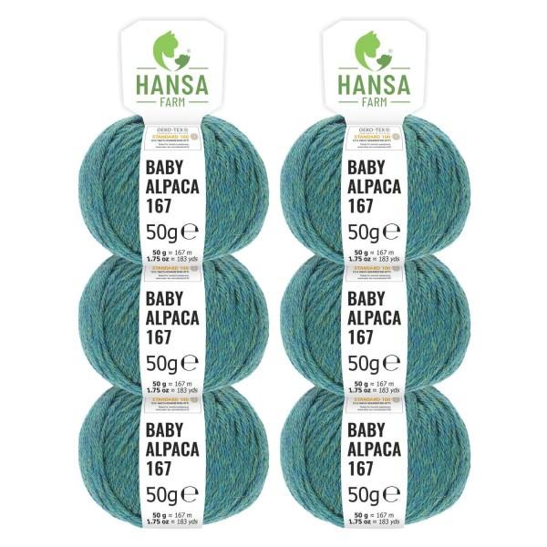 300g Baby Alpakawolle SPORT Blau-Grün heather (HF266)