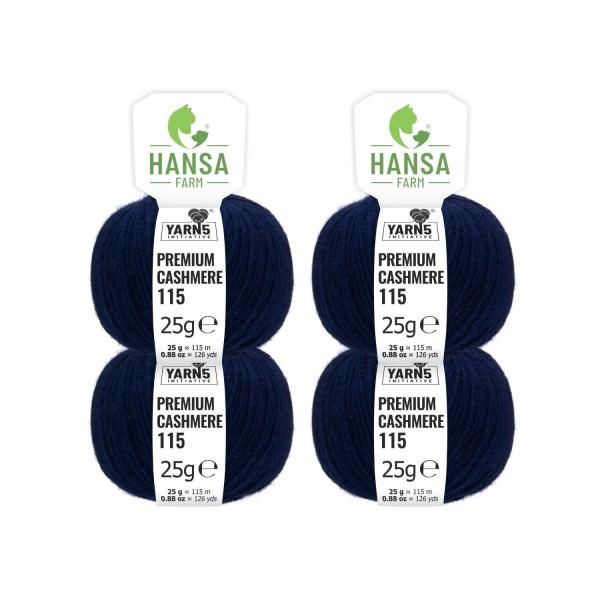 100g Premium Cashmere Wolle 6/28 aus Italien Dunkelblau (CA235)