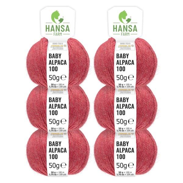 300g Baby Alpakawolle DK Blush Rot heather (HF173)